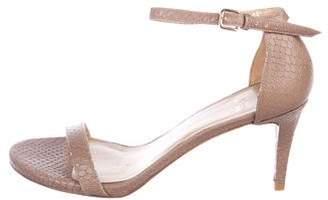 Stuart Weitzman Embossed Leather Strap Sandals