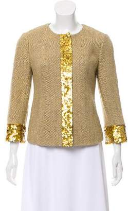 Tory Burch Embellished Crew Neck Jacket