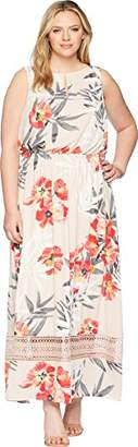 Adrianna Papell Women's Size Plus Tropical Breeze Maxi Dress
