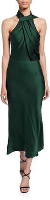 Jason Wu Collection Satin Twisted Halter Midi Dress