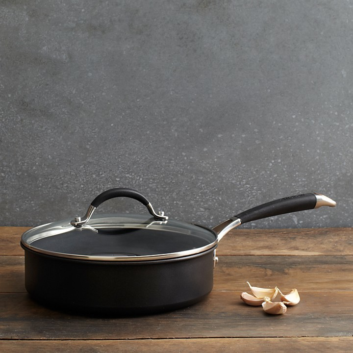 Anolon Infused Copper 3-Quart Covered Saute Pan, Black
