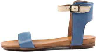 EOS Larnell-w Blue cafe creme Sandals Womens Shoes Casual Sandals-flat Sandals