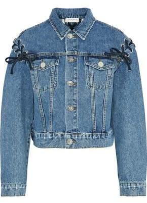 Sandro Lace-Up Faded Denim Jacket