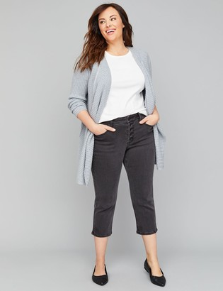 Lane Bryant High-Rise Straight Crop Jean - Faded Black Exposed Button Fly