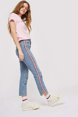 Topshop Moto side striped straight leg jeans