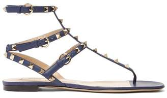 Valentino Rockstud Flat Leather Sandals - Womens - Navy