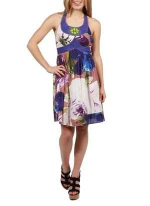 24/7 Comfort Apparel 24Seven Comfort Apparel Barbara Floral Purple Halter Dress