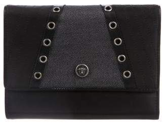 Gianni Versace Leather & Denim-Trimmed Wallet