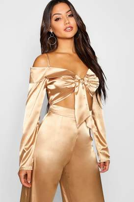 boohoo Tie Front Satin Crop Top