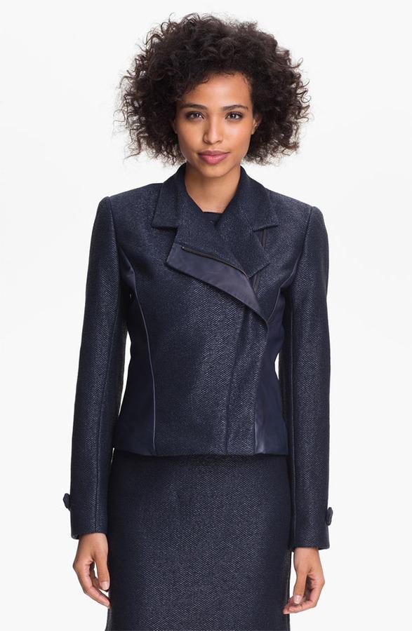 Nicole Miller Leather Detail Biker Jacket