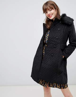 Darling Double Breasted Coat With Faux Fur Lining