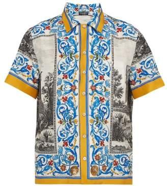 Dolce & Gabbana Temple & Majolica Print Silk Shirt - Mens - Blue Multi