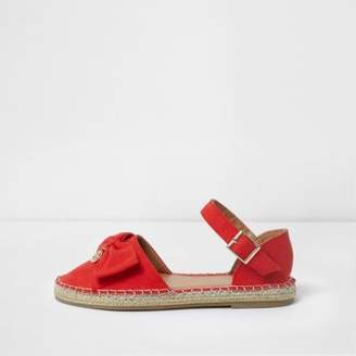 River Island Girls red bow top espadrille sandals