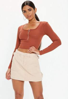 Missguided Rust Ribbed Zip Front Crop Top