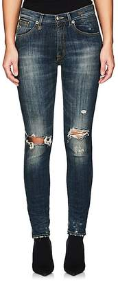 R 13 Women's High Rise Skinny Distressed Jeans