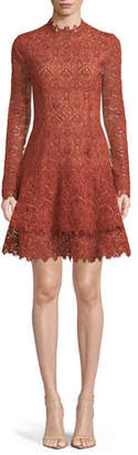 Jonathan Simkhai Long-Sleeve Guipure Lace Cocktail Dress