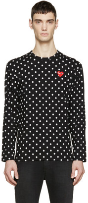 Comme des Garçons Play Black Polka Dot Heart Patch T-Shirt $170 thestylecure.com