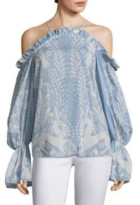 Alice McCall Free Cold-Shoulder Printed Bell-Sleeve Top