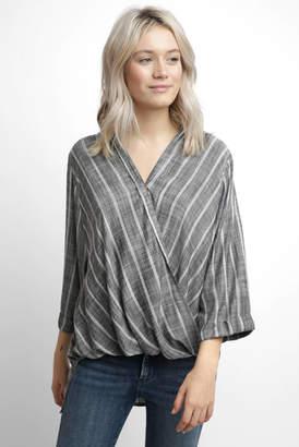 Abbeline Linen Stripe Surplice Hi-low Blouse