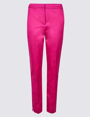 Marks and Spencer Cotton Rich Slim Leg Ankle Grazer Trousers