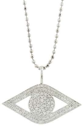 Sydney Evan Large Pavé Diamond Evil Eye Necklace - White Gold