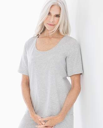 Cotton Blend Short Sleeve Pajama Top Heather Frost