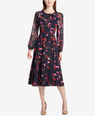 Tommy Hilfiger Photo Blossom Chiffon Midi Dress