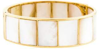 Mother of Pearl 18K Diamond & Hinged Bracelet