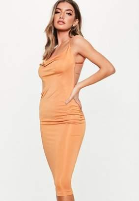 Missguided Rust Slinky Cowl Bodycon Midi Dress