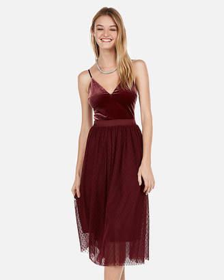 Express Velvet Bodice Tulle Midi Dress