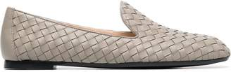 Bottega Veneta grey Fiandra woven leather loafers
