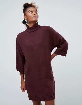Monki high neck knit dress in burgundy