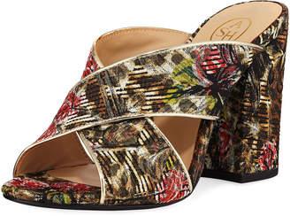 Ash Lola Block-Heel Jacquard Slide Sandals