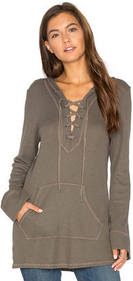Splendid Thermal Lace Up Hoodie $118 thestylecure.com