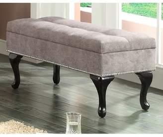 Worldwide Homefurnishings Fabric Storage Bench With Stud Detail