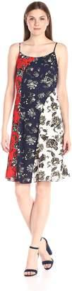 Vince Camuto Women's Wood Block Floral Colorblock Flare Dress