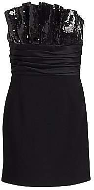 Saint Laurent Women's Double Sable Strapless Sequin Dress