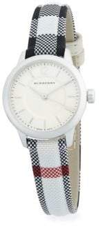 Burberry Stainless Steel & Check Strap Watch/25MM