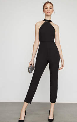 eb91c9540507 BCBGMAXAZRIA Cropped Beaded Halter Jumpsuit