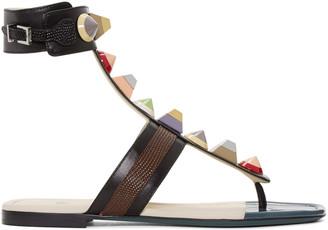 Fendi Black Rainbow Thong Sandals $795 thestylecure.com