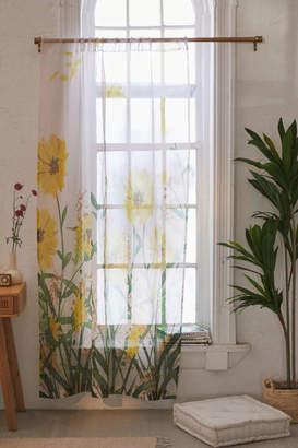Deny Designs Nadja For Deny Yellow Flowers Sheer Window Panel