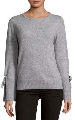 Saks Fifth Avenue Tie Sleeve Crewneck Cashmere Sweater