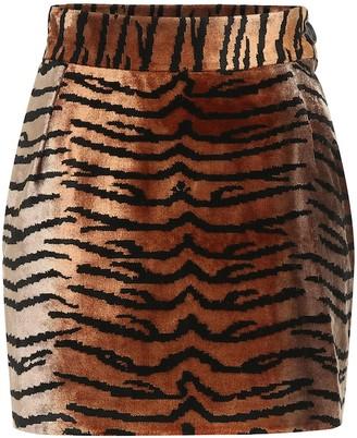ATTICO The Tiger-print velvet miniskirt