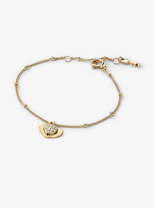 Michael Kors Precious Metal-Plated Sterling Silver Pave Heart Bracelet
