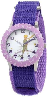 EWatchFactory Little Prince Kids' W000809 Stainless Steel Time Teacher Purple Stars Bezel Purple Velcro Strap Watch