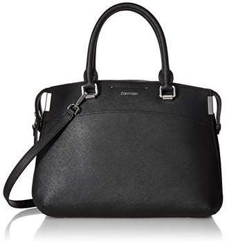 Calvin Klein Women's Raelynn Saffiano Leather Top Zip Satchel