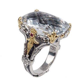 Konstantino Pythia Crystal & Corundum Rectangle Ring