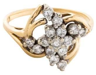 Ring 14K Diamond Cluster Cocktail