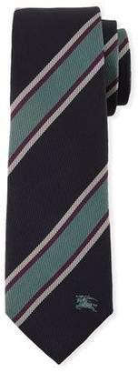 Burberry Slim-Cut Jacquard-Woven Striped Silk Tie