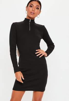 Missguided Tall Black Zip Front High Neck Ribbed Bodycon Dress